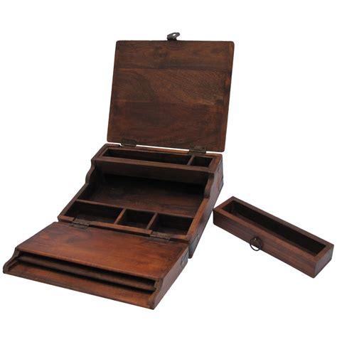 travel desk vintage antique wood folding portable travel writing
