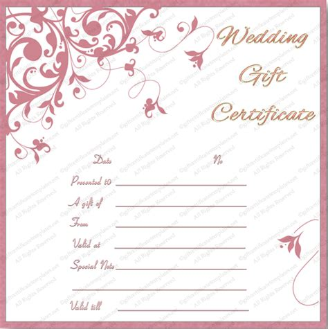 printable tea pink wedding gift certificate template