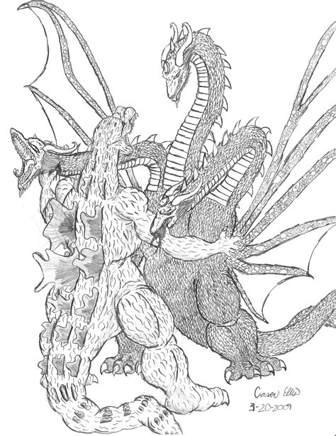 king ghidorah coloring page godzilla vs king ghidorah by irys cenobite on deviantart