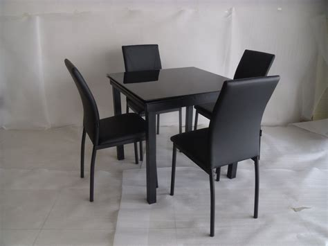Extending Kitchen Tables And Chairs Modico Glass Extending Dining Table And 4 Chairs Faux Leather Metal Le Modernique
