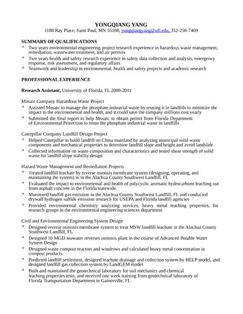professional environmental engineer resume template