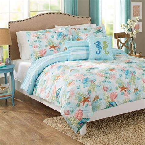 coral seashell and starfish king comforter set 5pc