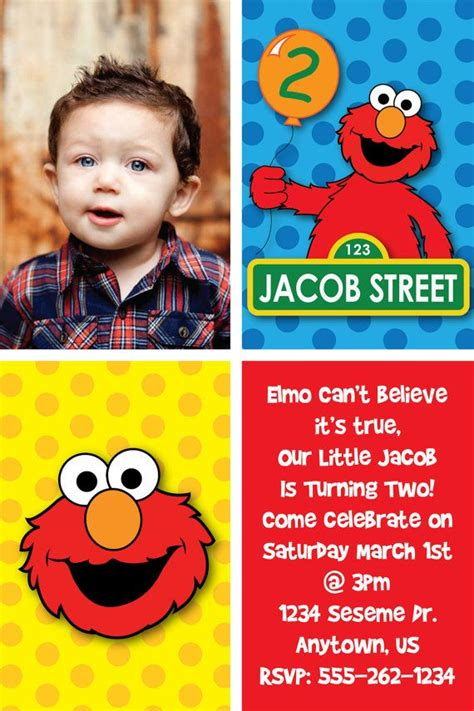elmo birthday card template custom elmo inspired birthday invitations or thank you cards by heatherscreations11 on