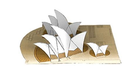 Origami Paper Sydney - simple sydney opera house free building paper model