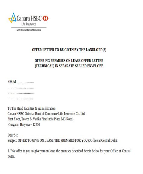 Commercial Lease Letter Of Offer counter offer letter company offer letter template