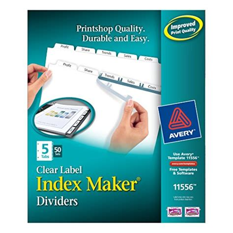 avery index maker 5 tab template desertcart