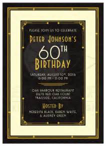 man s 60th birthday invitation black gold art deco