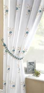 White And Teal Curtains Pair Of Pearls Fully Lined Embroidered Voile Curtains Teal Blue White Ready Made Curtains