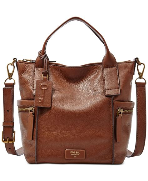 Satchel Fossil Brown fossil emerson leather medium satchel in brown lyst