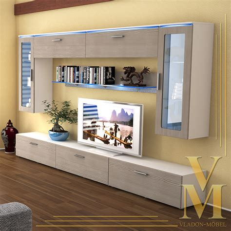 Living Room Furniture Wall Units by Wall Unit Living Room Furniture Madrid V2 In White Avola Chagne Ebay