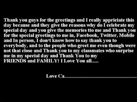 thank you letter to my on birthday thank you message to my birthday