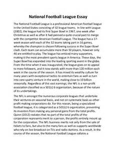 Essay About Soccer by National Football League Essay