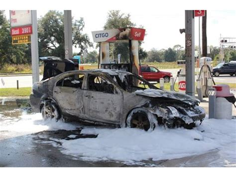 lit candle in car sparks gas station patch