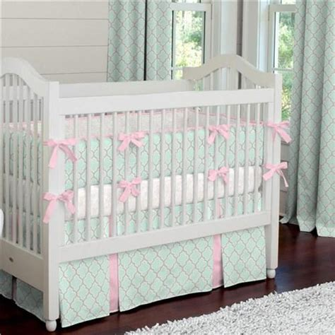 Pink Crib Bumper by Mint And Pink Quatrefoil Crib Bumper Carousel Designs