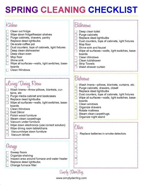 spring cleaning checklist spring cleaning checklist