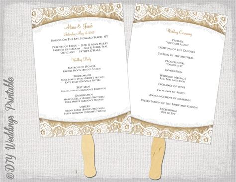wedding program fan template rustic burlap lace
