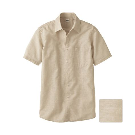 linen cotton sleeve shirt uniqlo cotton linen sleeve shirt in beige for lyst