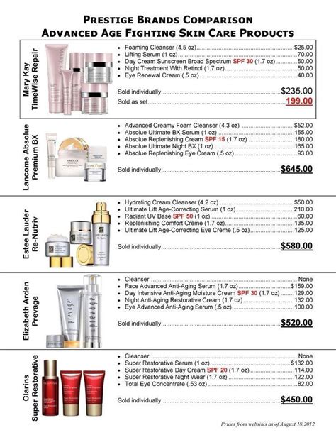 top sheet brands printable mary kay 174 prestige brand comparison sheet qt