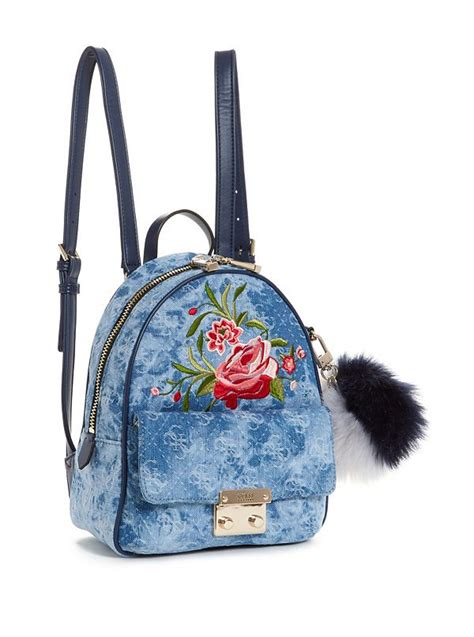 Varsity Pop Small Backpack Guess varsity pop small denim backpack guess ca