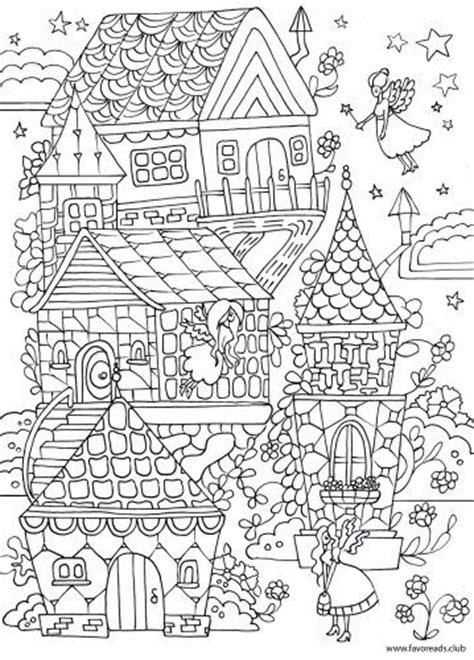 fairy house printable adult coloring page zentangles
