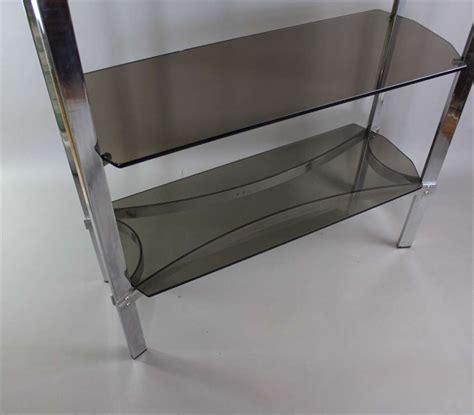Smoked Glass Shelf by Merrow Associates Chrome Shelf Unit With Four Smoked Glass Shelves Mid Century Modern