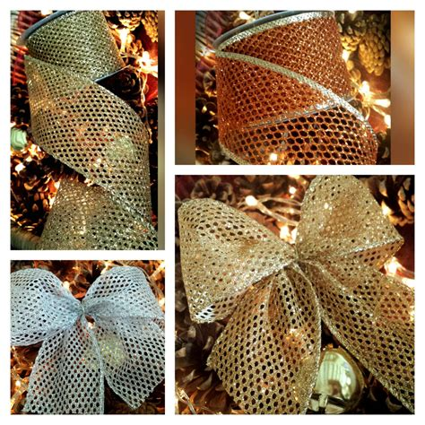 silver mesh christmas ribbon wired gold silver or copper glitter mesh ribbon web cake wreath tree ebay