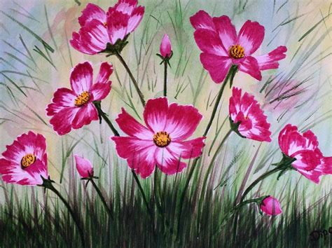 Single Duvet And Pillow Cosmos Flowers 3 Painting By Dipali Deshpande