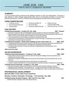 Resume Sles For Nurses Aide Assistant Cna Resume Exle