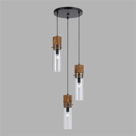 Three Pendant Light Wood And Glass Staggered 3 Light Pendant L World Market
