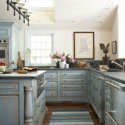 blue kitchen cabinets cottage kitchen bhg