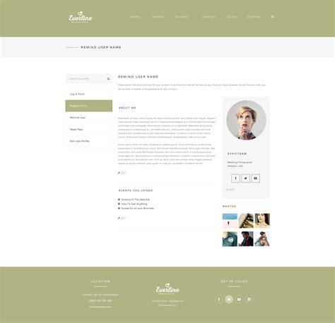 Wedding Event Everline Wordpress Theme By Templaza Themeforest User Profile Page Html Template
