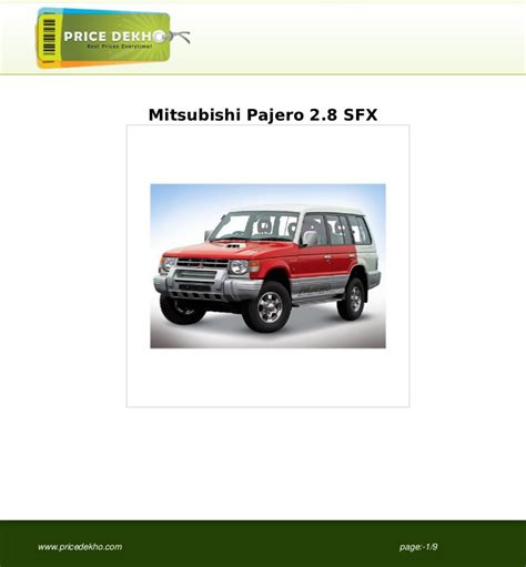 repair voice data communications 1996 mitsubishi pajero user handbook mitsubishi pajero 2 8 sfx specification