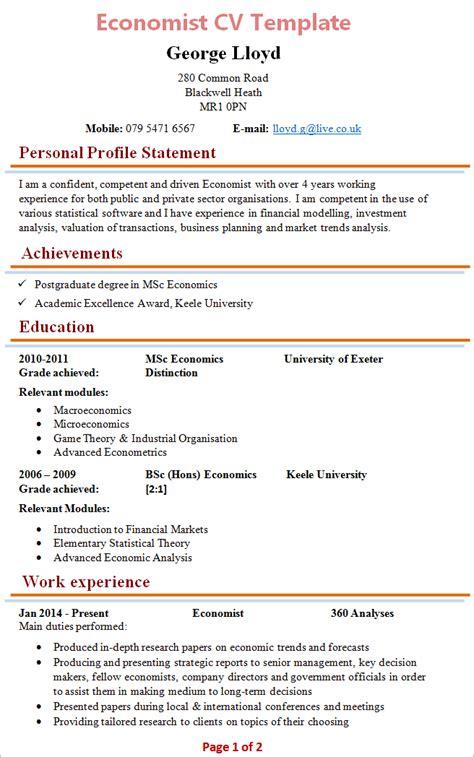 Sample Resume Volunteer Work by Economist Cv Template