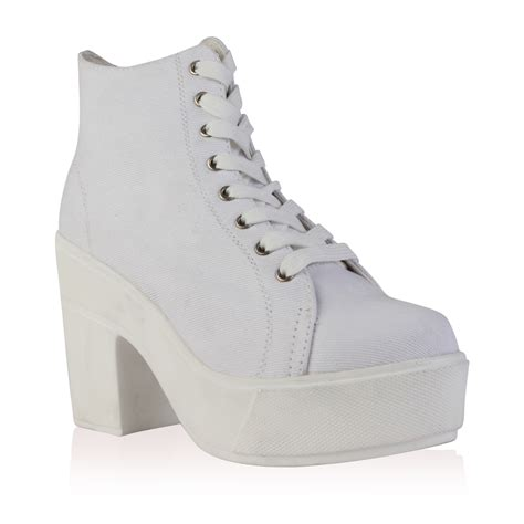 new lace up canvas womens platform chunky block