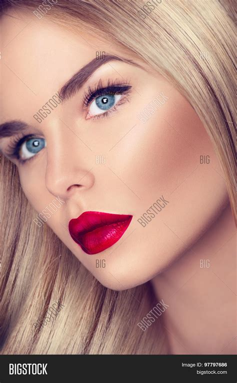 blonde girl with red lipstick beautiful blonde girl healthy blond image photo bigstock
