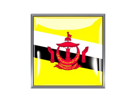 icon design brunei metal framed square icon illustration of flag of brunei