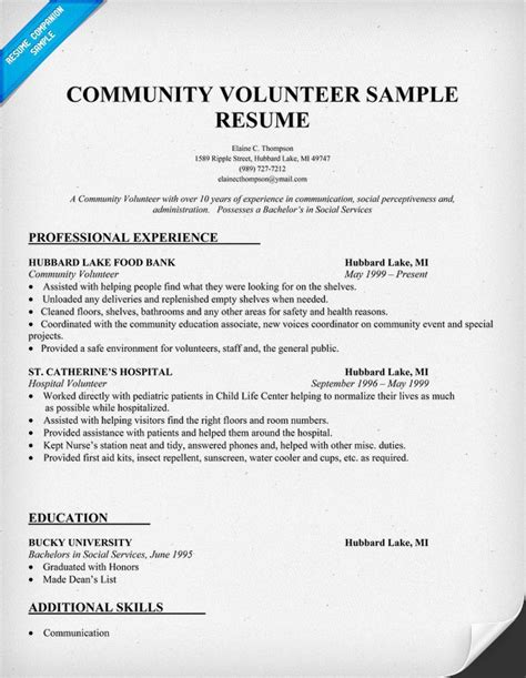 Resume Cover Letter Volunteer Work Community Volunteer Resume Sle To Do List