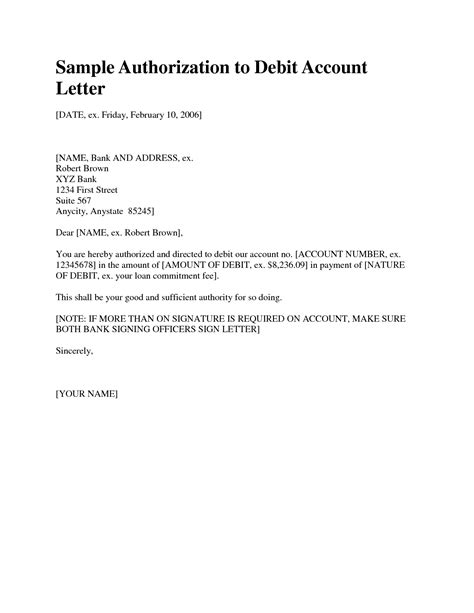 authorization letter for bank purposes best photos of signature authorization letter sle