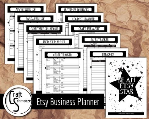 etsy business plan template business plannerfor small business printable by craftschmooze