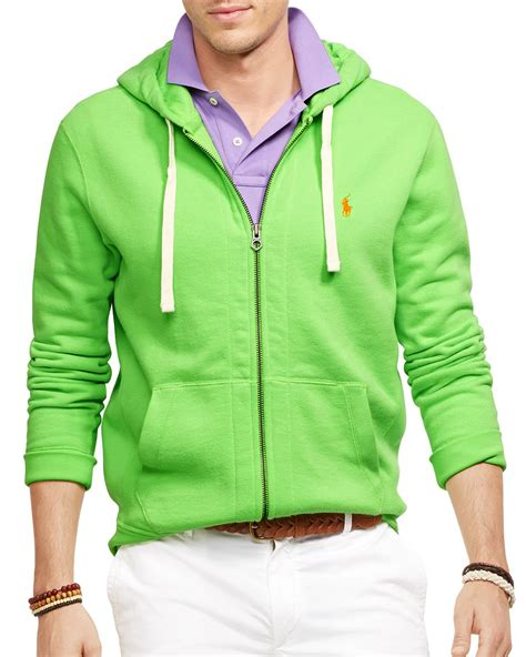 Vest Hoodie Zipper Polos Abu K21 ralph polo zip classic fleece hoodie in green for lyst