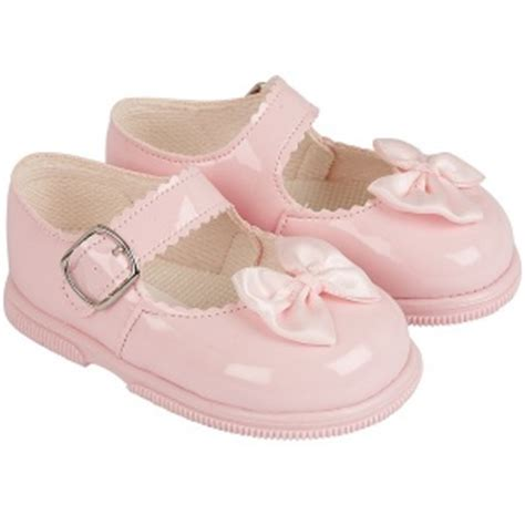 pink patent satin bow shoes early days