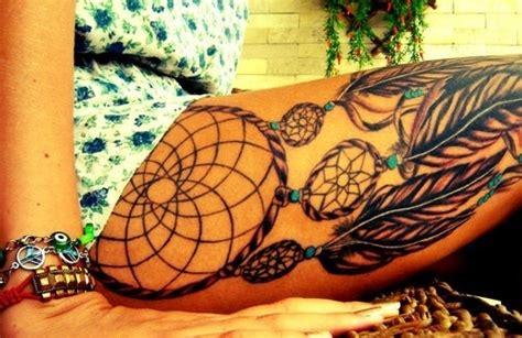 dream catcher tattoo on upper leg 30 cool dream catcher tattoos desiznworld