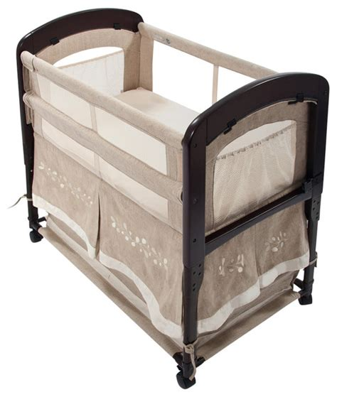 arm s reach cambria wood co sleeper with skirt linen