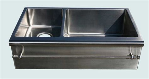 stainless steel apron sink with towel bar handmade stainless sink with bullnose apron towel bar by