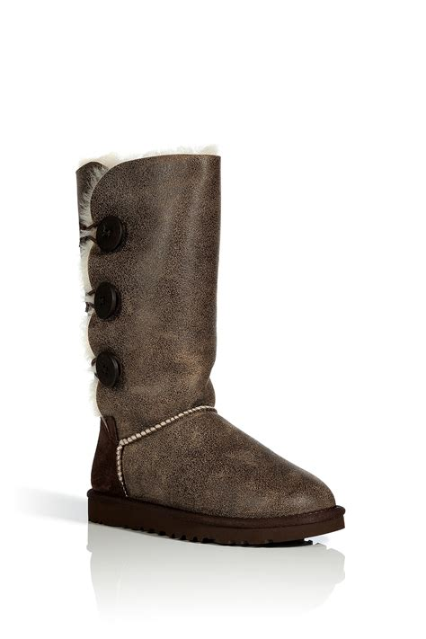 ugg boots bailey button ugg chestnut vintage bailey button triplet bomber boots in