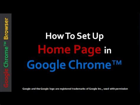how to set up home page in chrome