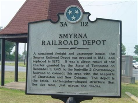 smyrna railroad depot tennessee historical markers on