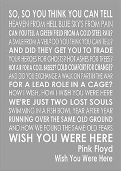 pink floyd wish you were here lyrics lyric word wall