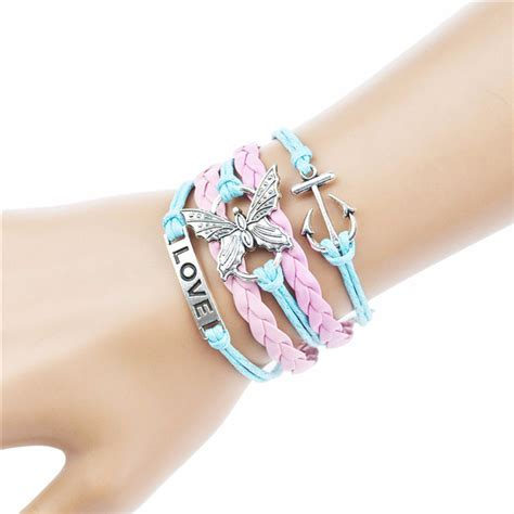 Gelang Color gelang vintage butterfly leather bracelet bangle