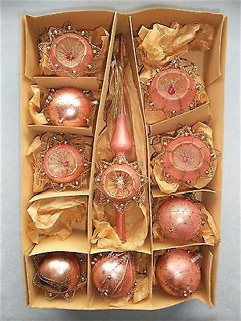 vintage box pink silver german christmas tree ornament